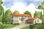 Mediterranean Style House Plan - 4 Beds 3.5 Baths 2865 Sq/Ft Plan #1042-9 Exterior - Front Elevation