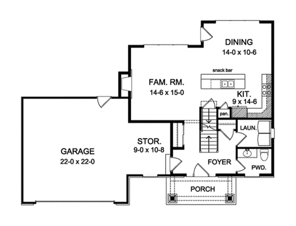 Craftsman Floor Plan - Main Floor Plan Plan #1010-114