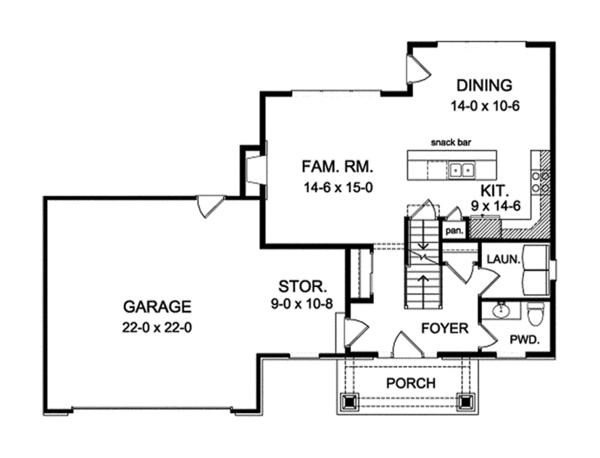 House Plan Design - Craftsman Floor Plan - Main Floor Plan #1010-114