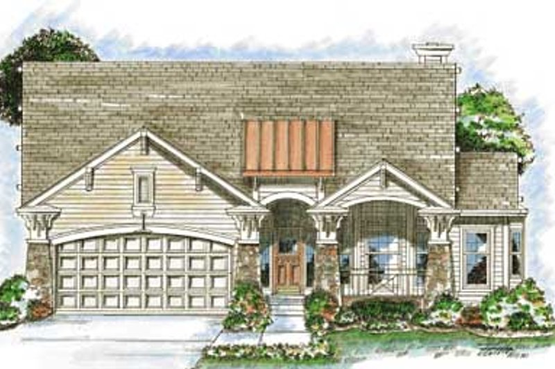 Dream House Plan - Craftsman Exterior - Front Elevation Plan #20-1376