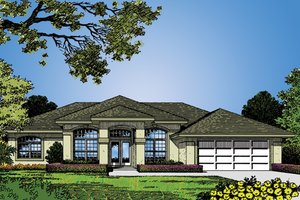 Dream House Plan - Mediterranean Exterior - Front Elevation Plan #417-485