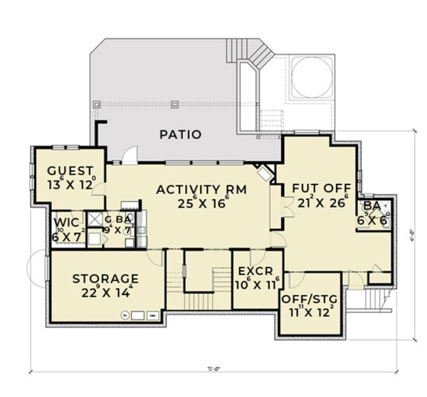 European Floor Plan - Lower Floor Plan Plan #1070-6