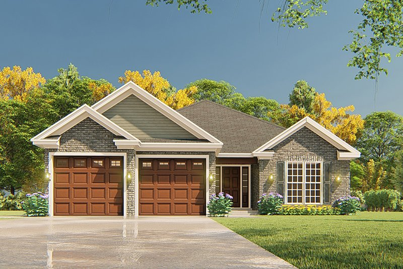 Traditional Style House Plan - 3 Beds 2 Baths 1516 Sq/Ft Plan #17-3425 Exterior - Front Elevation