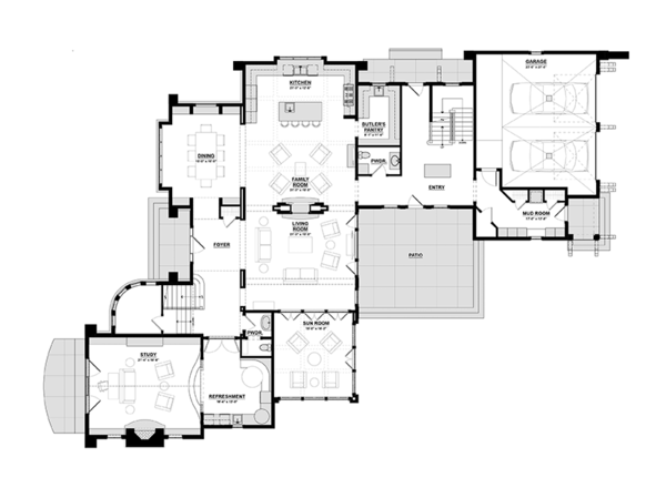 Tudor Floor Plan - Main Floor Plan Plan #928-275