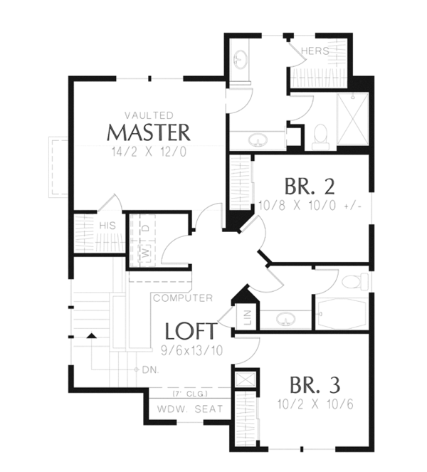 Craftsman Floor Plan - Upper Floor Plan Plan #48-906
