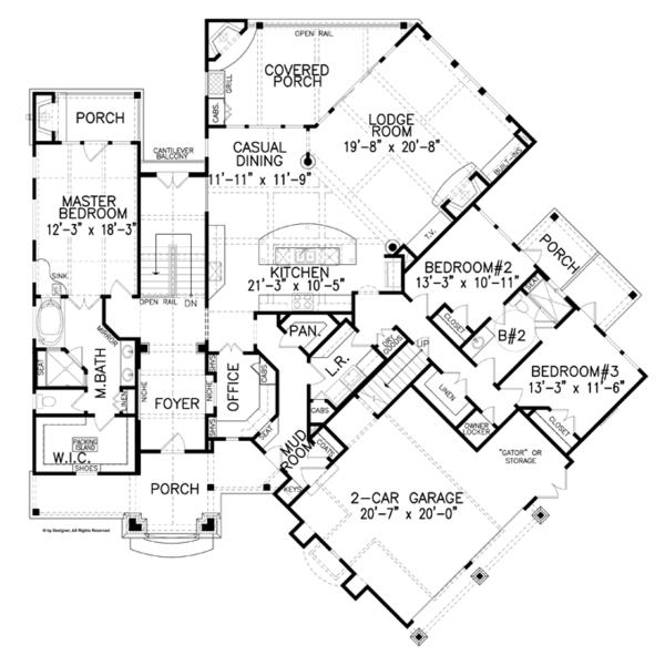 Dream House Plan - Craftsman Floor Plan - Main Floor Plan #54-373