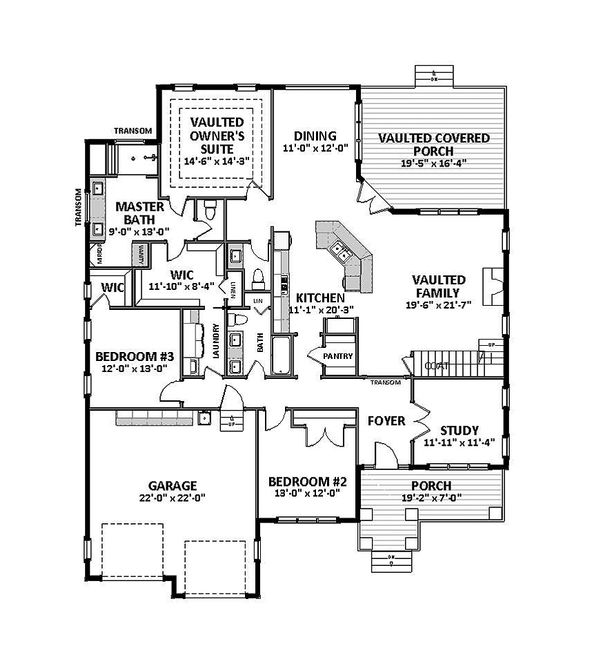 Craftsman Floor Plan - Main Floor Plan Plan #898-49