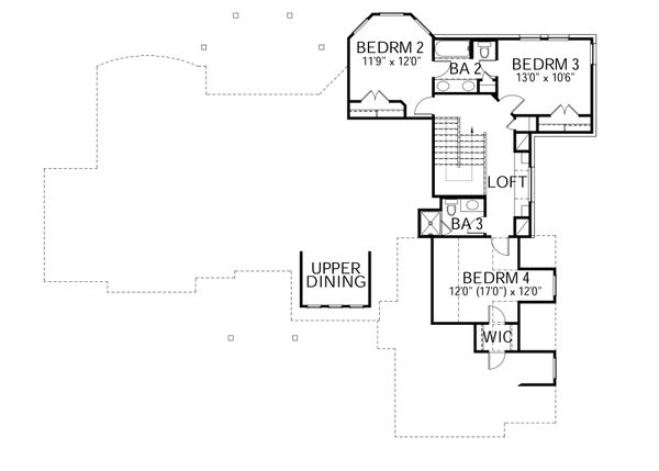 Country Floor Plan - Upper Floor Plan #80-180