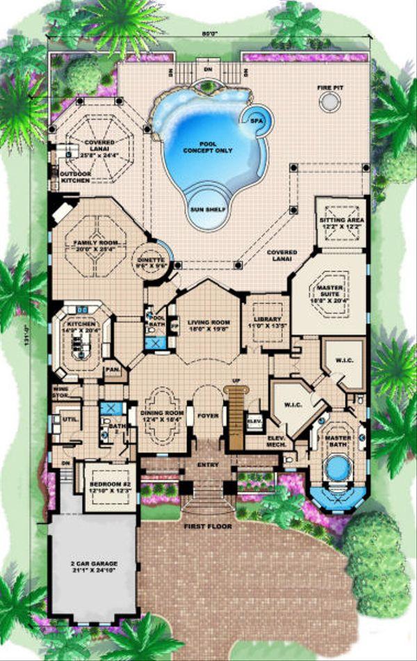 Mediterranean Floor Plan - Main Floor Plan Plan #27-392