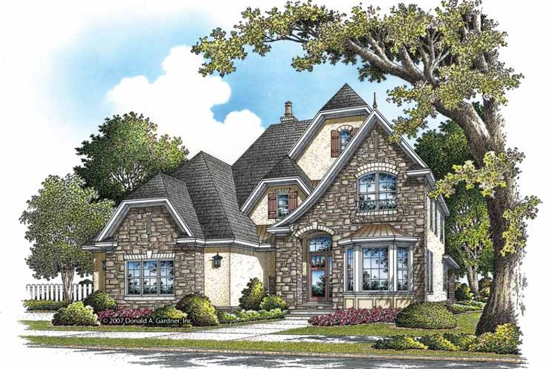 European Exterior - Front Elevation Plan #929-838