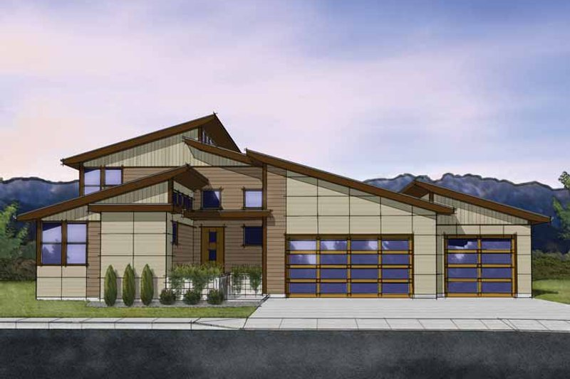 Dream House Plan - Contemporary Exterior - Front Elevation Plan #569-29