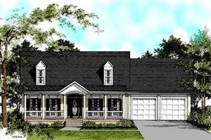 Colonial Exterior - Front Elevation Plan #56-137