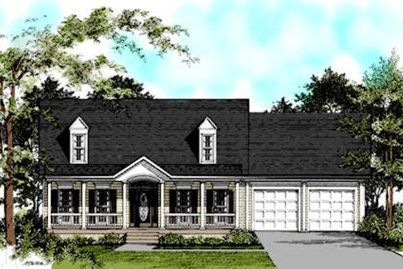 Colonial Style House Plan - 4 Beds 2.5 Baths 1747 Sq/Ft Plan #56-137 Exterior - Front Elevation