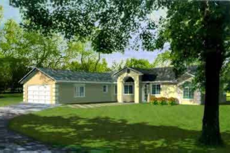 Adobe / Southwestern Style House Plan - 4 Beds 2 Baths 1868 Sq/Ft Plan #1-725 Exterior - Front Elevation