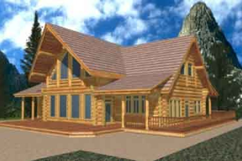 Log Exterior - Front Elevation Plan #117-126