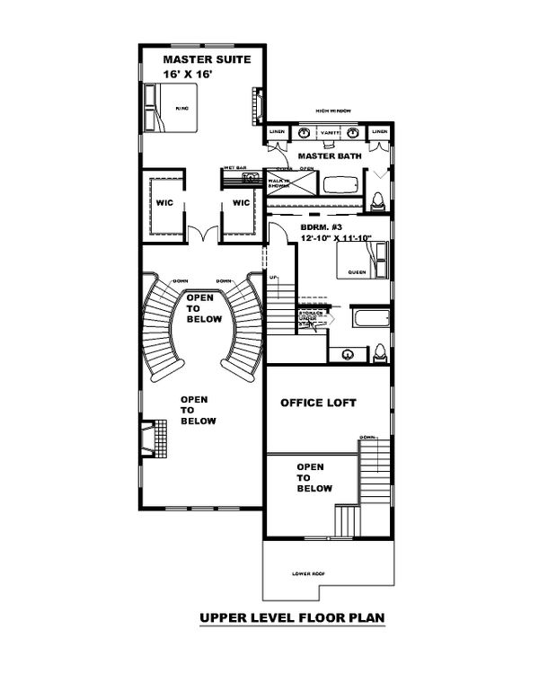 Traditional Floor Plan - Upper Floor Plan #117-912