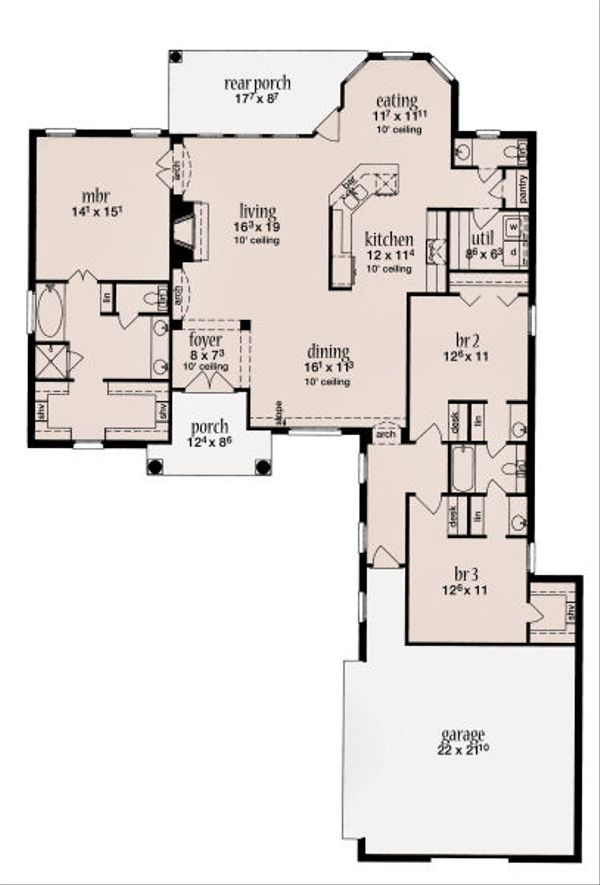 Home Plan - European Floor Plan - Main Floor Plan #36-482