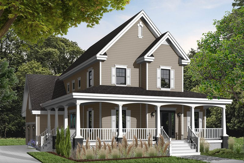 Country Style House Plan - 3 Beds 2.5 Baths 2008 Sq/Ft Plan #23-377 Exterior - Front Elevation