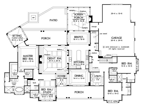 Dream House Plan - Ranch Floor Plan - Main Floor Plan #929-1019