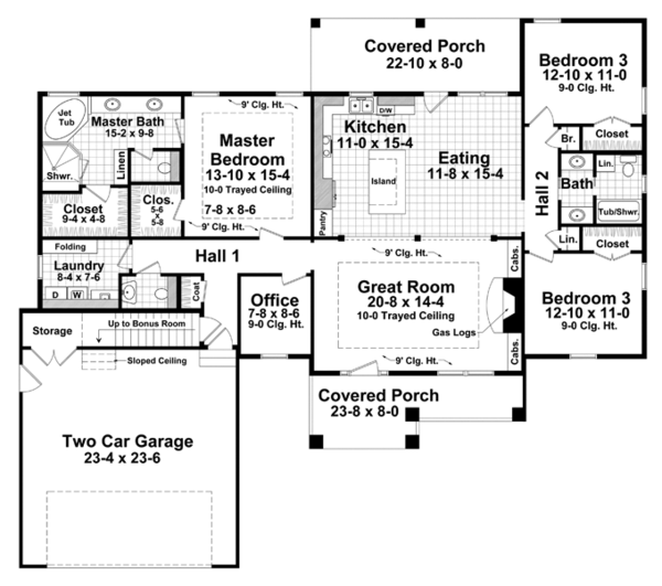 Craftsman Floor Plan - Main Floor Plan Plan #21-432