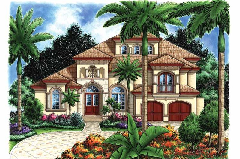Mediterranean Exterior - Front Elevation Plan #1017-16