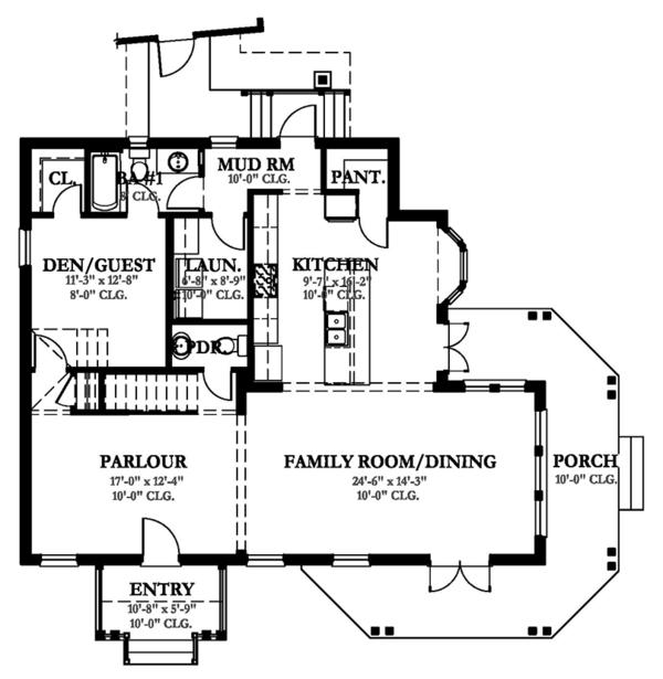 Country Floor Plan - Main Floor Plan Plan #1058-149