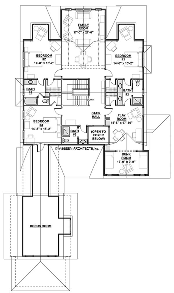 Colonial Floor Plan - Upper Floor Plan Plan #928-298