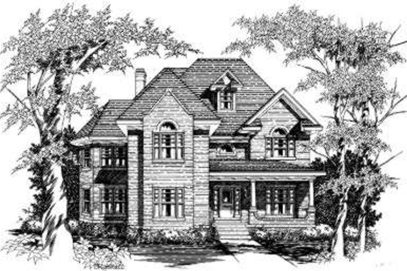 European Style House Plan - 4 Beds 3 Baths 3206 Sq/Ft Plan #329-106 Exterior - Front Elevation
