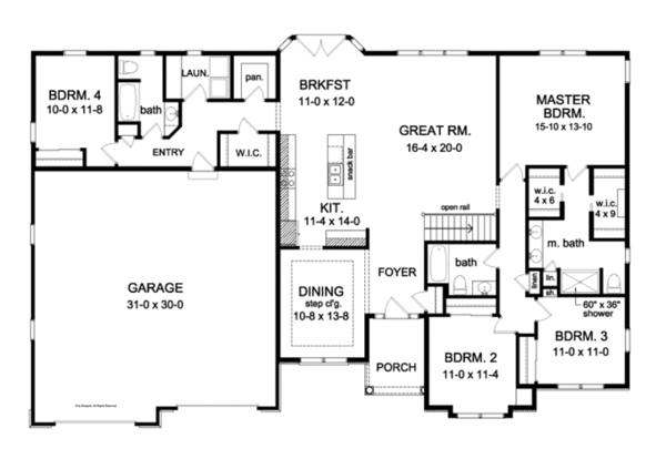 Ranch Style House Plan 4 Beds 3 Baths 2300 Sq Ft Plan