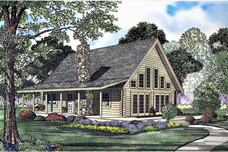 Log Exterior - Front Elevation Plan #17-3108