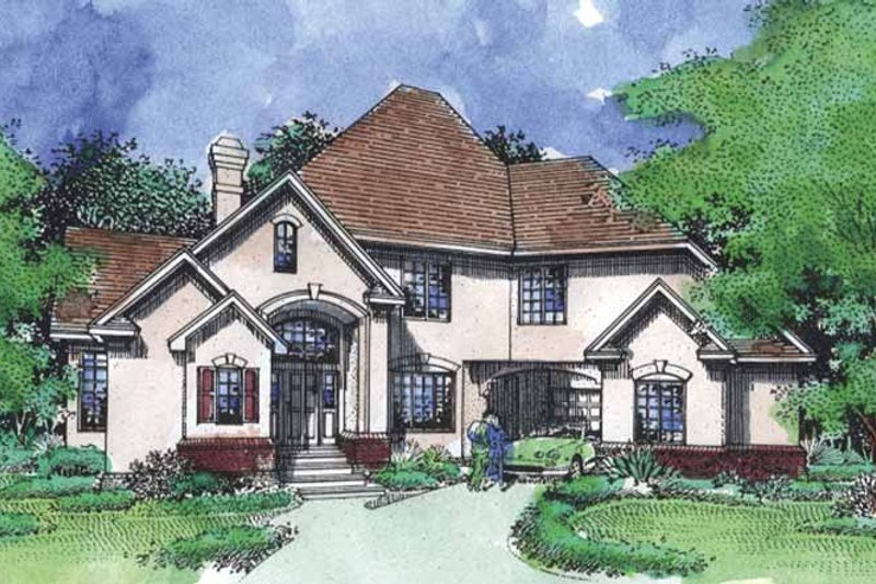 European Exterior - Front Elevation Plan #320-910