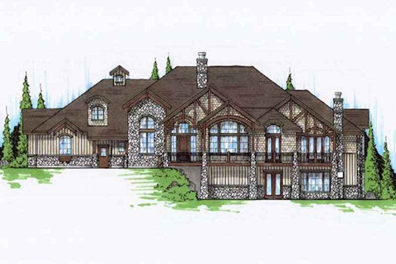 Craftsman Style House Plan - 5 Beds 5.5 Baths 3761 Sq/Ft Plan #5-469 Exterior - Front Elevation