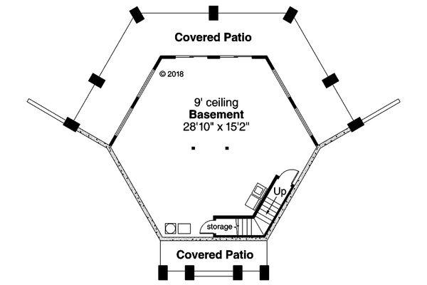 Architectural House Design - Prairie Floor Plan - Lower Floor Plan #124-1143