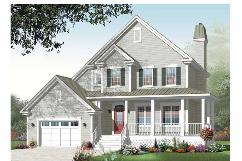 Country Exterior - Front Elevation Plan #23-2443