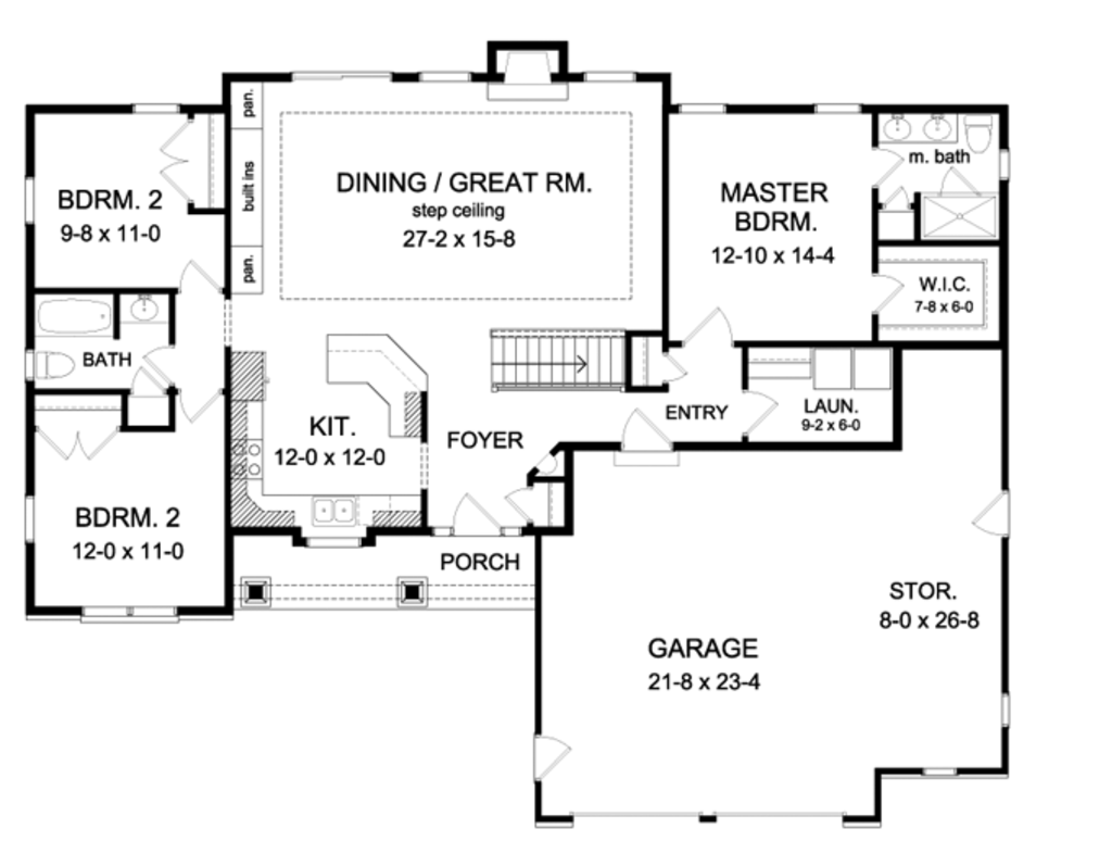 Ranch style house plan 3 beds 2 baths 1598 sq ft plan for 2foot plan de campagne