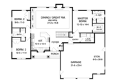 Ranch Style House Plan - 3 Beds 2 Baths 1598 Sq/Ft Plan #1010-68 Floor Plan - Main Floor