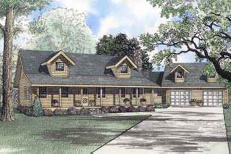 Log Style House Plan - 3 Beds 2.5 Baths 2181 Sq/Ft Plan #17-511 Exterior - Front Elevation