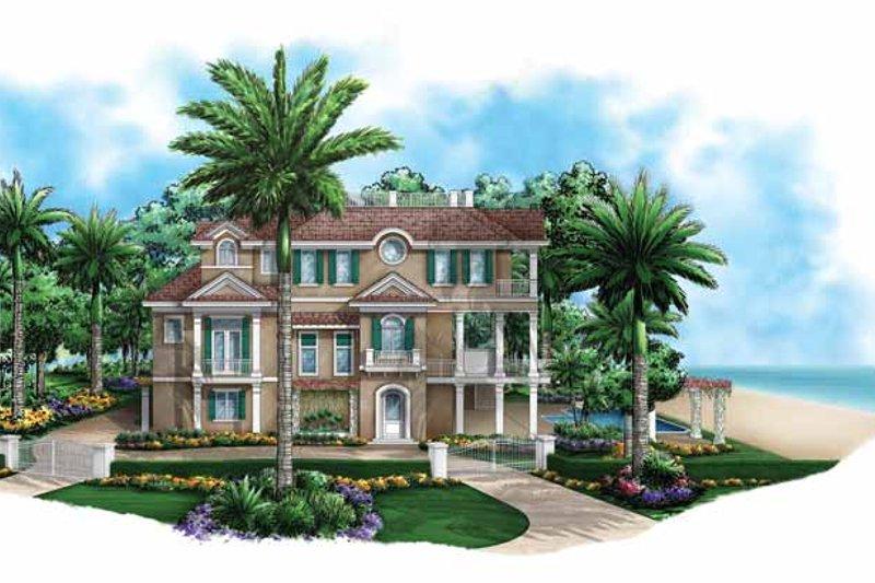Dream House Plan - Mediterranean Exterior - Front Elevation Plan #1017-135