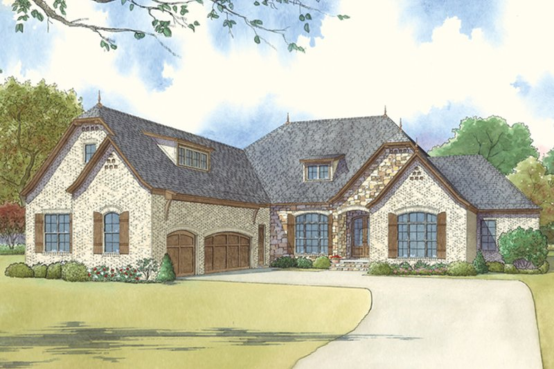 European Exterior - Front Elevation Plan #17-3414