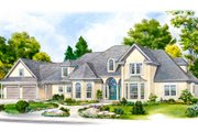 European Style House Plan - 4 Beds 4.5 Baths 4555 Sq/Ft Plan #140-155 Exterior - Front Elevation