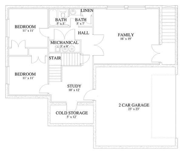 Traditional Floor Plan - Lower Floor Plan Plan #1060-19