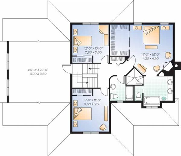 Country Floor Plan - Upper Floor Plan Plan #23-2349