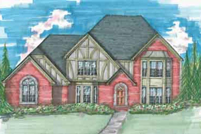 Tudor Style House Plan - 3 Beds 2.5 Baths 2970 Sq/Ft Plan #136-108