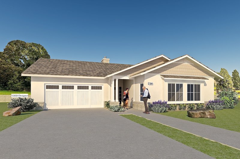Ranch Style House Plan - 4 Beds 3.5 Baths 2019 Sq/Ft Plan #489-12 Exterior - Front Elevation