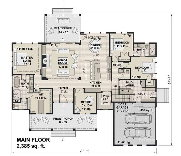 Farmhouse Floor Plan - Main Floor Plan #51-1171