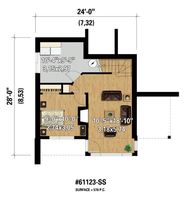 Contemporary Floor Plan - Lower Floor Plan Plan #25-4585