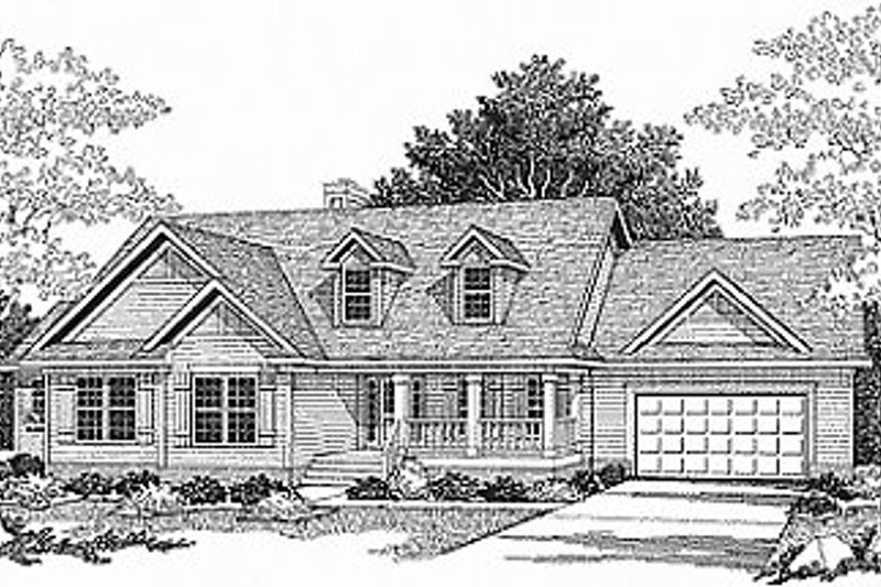 Traditional Style House Plan - 3 Beds 2.5 Baths 2034 Sq/Ft Plan #70-286 Exterior - Front Elevation