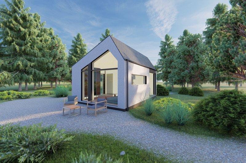 Modern Style House Plan - 1 Beds 1 Baths 311 Sq/Ft Plan #549-31 Exterior - Front Elevation