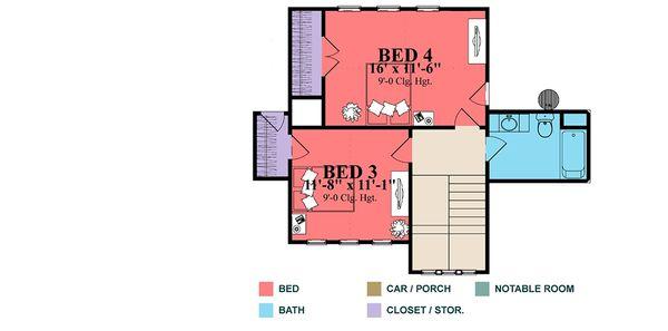 Craftsman Floor Plan - Upper Floor Plan Plan #63-424