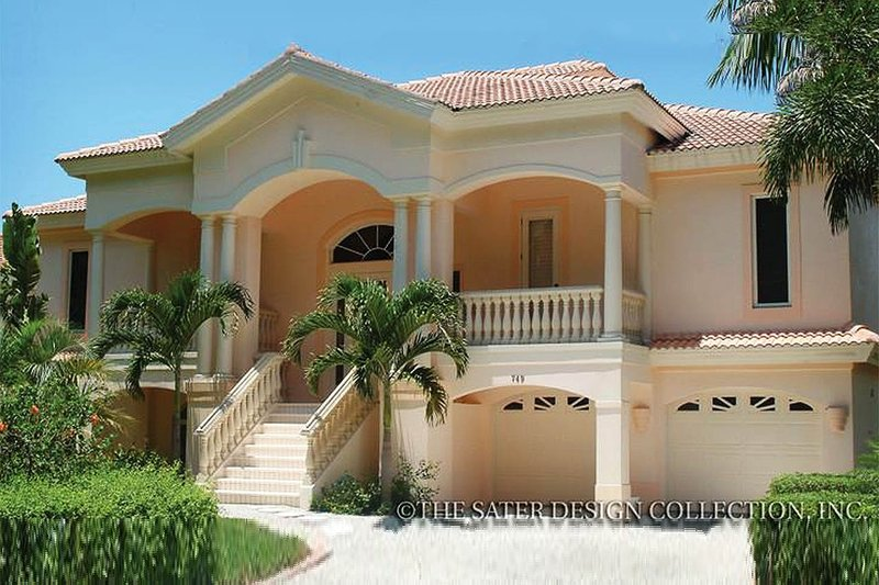 Mediterranean Style House Plan - 3 Beds 3 Baths 2494 Sq/Ft Plan #930-161 Exterior - Front Elevation